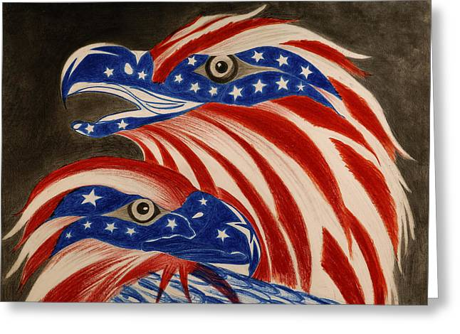 Flag Of Usa Pastels Greeting Cards -  Proud of Eagle Greeting Card by Jalal Gilani
