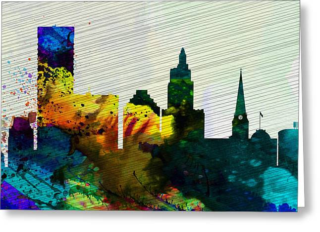 Architectural Paintings Greeting Cards -  Providence City Skyline Greeting Card by Naxart Studio