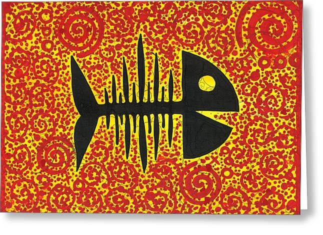 Treatment Mixed Media Greeting Cards -  Psycho Fish Greeting Card by Josh Brown