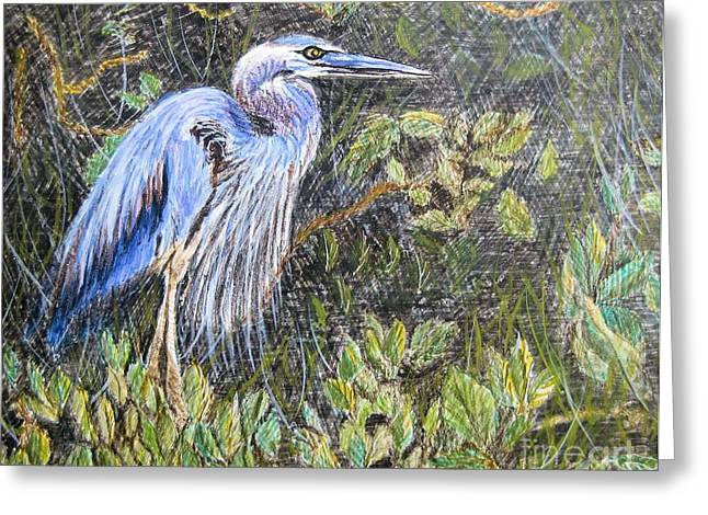 Ptg  Blue Heron Greeting Card by Judy Via-Wolff
