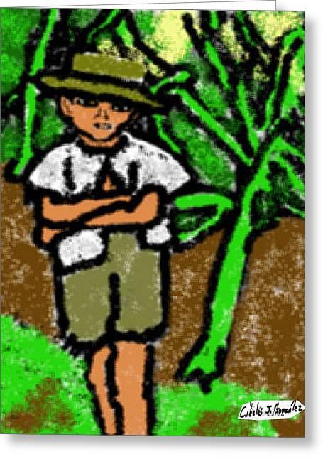 Puerto Rican Boy In Sugarcane Field Greeting Card by Cibeles Gonzalez