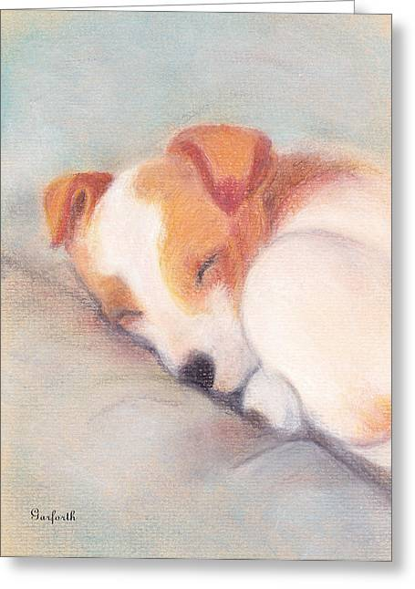 Soft Background Pastels Greeting Cards -  Puppy Sleeping Greeting Card by Yggdrasil Art