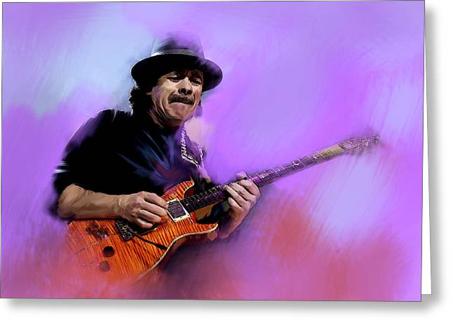 Main Street Greeting Cards -  Pura Vida carlos santana Greeting Card by Iconic Images Art Gallery David Pucciarelli