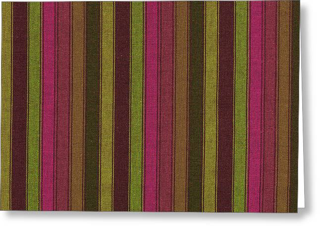 Antique Straight Pattern Greeting Cards -  Purple And Green Striped Textile Background Greeting Card by Keith Webber Jr
