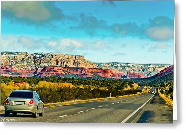 Oak Creek Digital Greeting Cards -  R89 to Sedona Arizona  Greeting Card by  Bob and Nadine Johnston