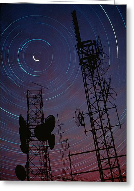 Global Communications Greeting Cards -  Radio Towers And Star Trails Greeting Card by Anonymous