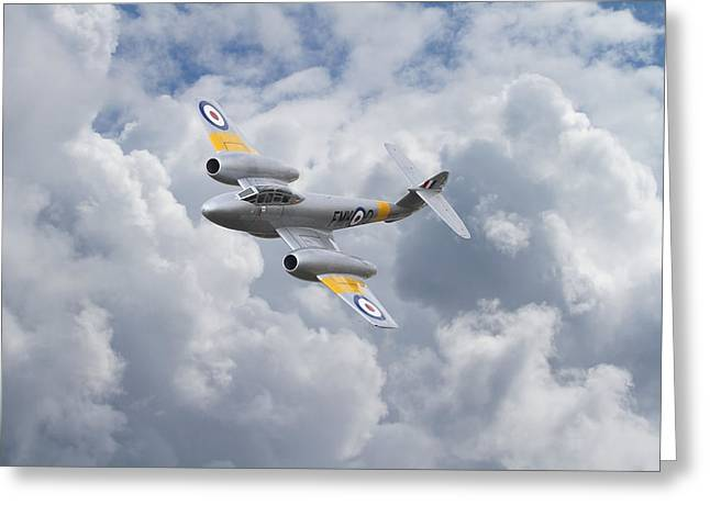 Fighter Aircraft Greeting Cards -  RAF Meteor - 1940s Cutting Edge Greeting Card by Pat Speirs