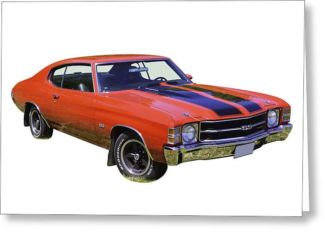 Motor Vehicles Greeting Cards -  Red 1971 chevrolet Chevelle SS Greeting Card by Keith Webber Jr