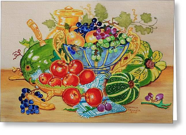 Fruit And Wine Greeting Cards -  Red apples and  grapes oil painting Greeting Card by Johanna Bruwer