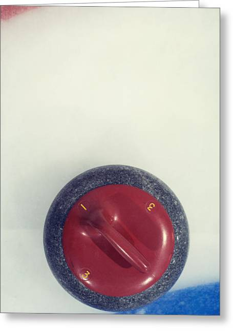 Curl Greeting Cards -  Red Curling Stone Greeting Card by Priska Wettstein