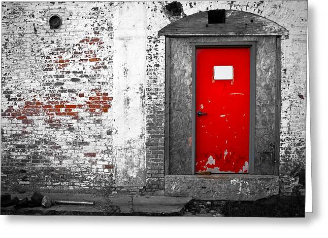 Mills Photographs Greeting Cards -  Red Door Perception Greeting Card by Bob Orsillo