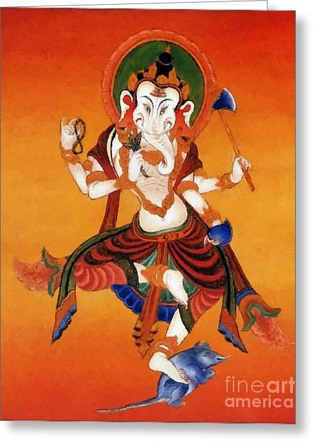 Full Of Wisdom Greeting Cards -   Red Jambhala  3 Greeting Card by Lanjee Chee