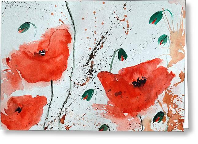Ismeta Greeting Cards -  Red Poppies  Greeting Card by Ismeta Gruenwald