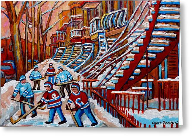 Montreal Artist Paints Verdun Street Scenes Greeting Cards -  Red Staircases -paintings Of Verdun Montreal City Scene - Hockey Art - Winter Scenes  Greeting Card by Carole Spandau