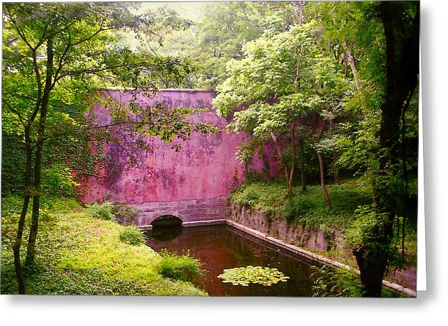 Pond In Park Greeting Cards -  Red Wall Nanjing China Greeting Card by Lou Ann Bagnall