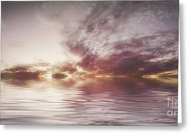 Canvas Floral Greeting Cards -  Reflection of Mauve Skies Greeting Card by Holly Martin