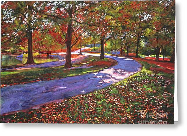 Fallen Leaf Paintings Greeting Cards -  Road By The Lake Greeting Card by David Lloyd Glover