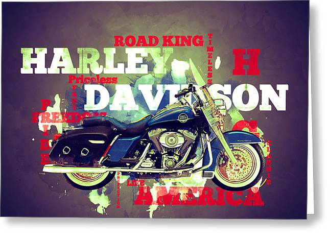 Bad Ass Greeting Cards -  Road King Classic Greeting Card by Guy Dicarlo