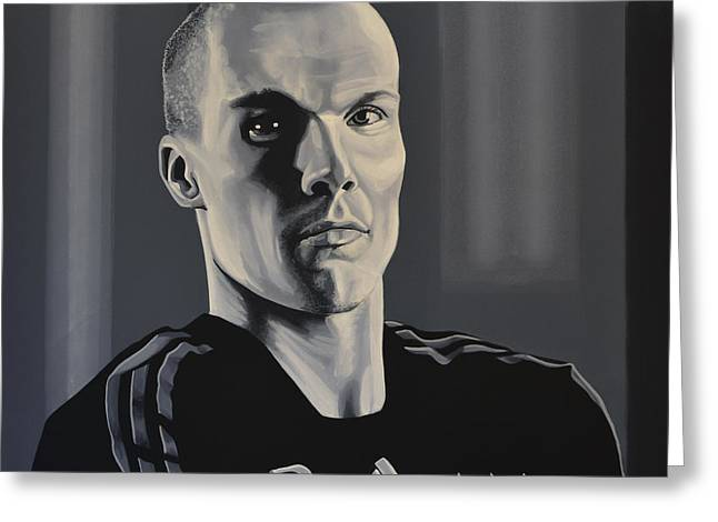 Goalie Paintings Greeting Cards -  Robert Enke Greeting Card by Paul  Meijering