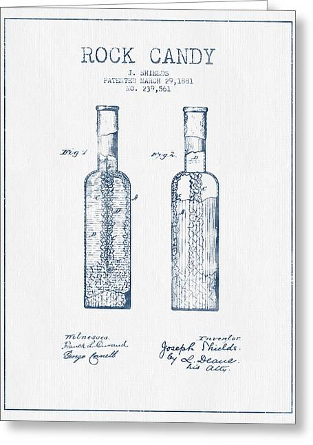 Food Digital Art Greeting Cards -  Rock Candy  Patent Drawing from 1881 - Blue Ink Greeting Card by Aged Pixel