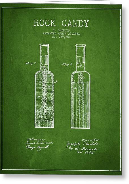 Food Digital Art Greeting Cards -  Rock Candy  Patent Drawing from 1881 - Green Greeting Card by Aged Pixel
