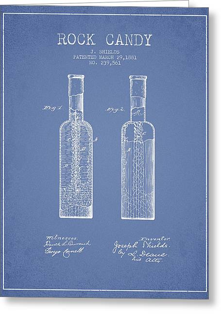Food Digital Art Greeting Cards -  Rock Candy  Patent Drawing from 1881 - Light Blue Greeting Card by Aged Pixel