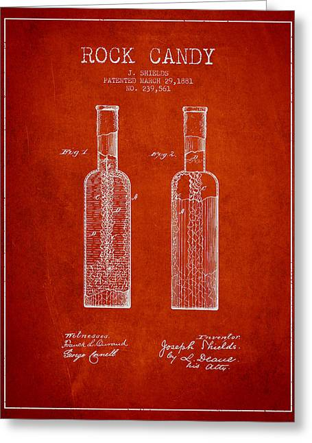 Confections Greeting Cards -  Rock Candy  Patent Drawing from 1881 - Red Greeting Card by Aged Pixel