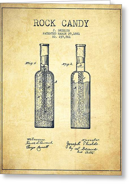 Food Digital Greeting Cards -  Rock Candy Patent Drawing from 1881 - Vintage Greeting Card by Aged Pixel