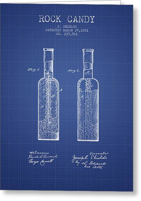 Food Digital Art Greeting Cards -  Rock Candy  Patent from 1881  - Blueprint Greeting Card by Aged Pixel