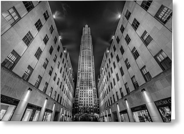 Nightscape Greeting Cards -  Rockefeller Center - New York - USA 2 Greeting Card by Larry Marshall