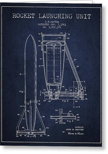 Launcher Greeting Cards -  Rocket Launching Unit Patent from 1961 Greeting Card by Aged Pixel