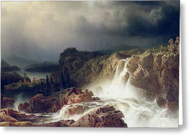 Edge Greeting Cards -  Rocky Landscape with Waterfall in Smaland Greeting Card by Marcus Larson