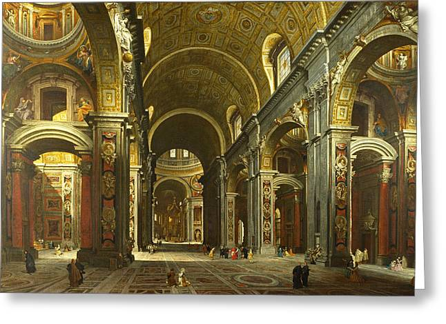Giovanni Paolo Panini Greeting Cards -  Rome. The Interior of St Peters Greeting Card by Giovanni Paolo Panini