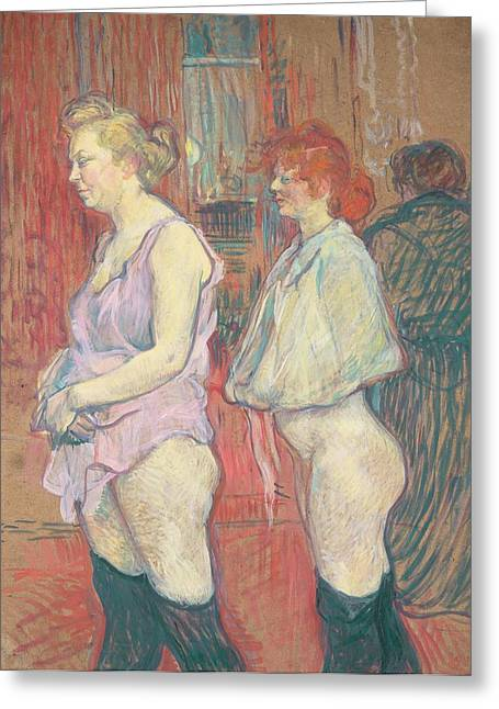 Bare Ass Greeting Cards -  Rue des Moulins Greeting Card by Henri de Toulouse-Lautrec