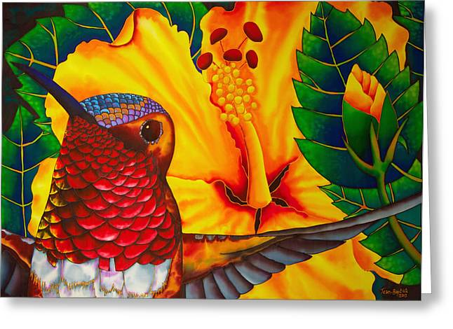 Print Tapestries - Textiles Greeting Cards -  Rufous Hummingbird Greeting Card by Daniel Jean-Baptiste