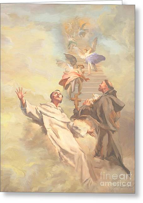 Prayer Of St. Francis Of Assisi Greeting Cards -  Saint Benedict and Saint Francis of Assisi Greeting Card by John Alan  Warford