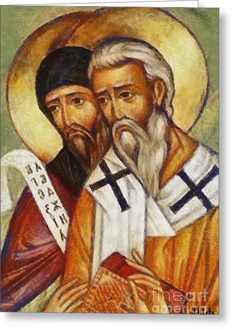Slav Greeting Cards -  Saints Cyril and Methodius Greeting Card by Dragica  Micki Fortuna