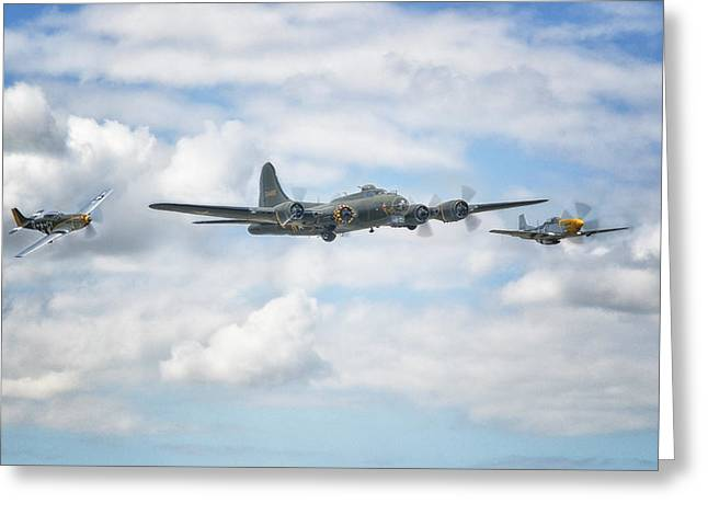 Bomber Escort Greeting Cards -  Sally B with her little friends Greeting Card by Jason Green
