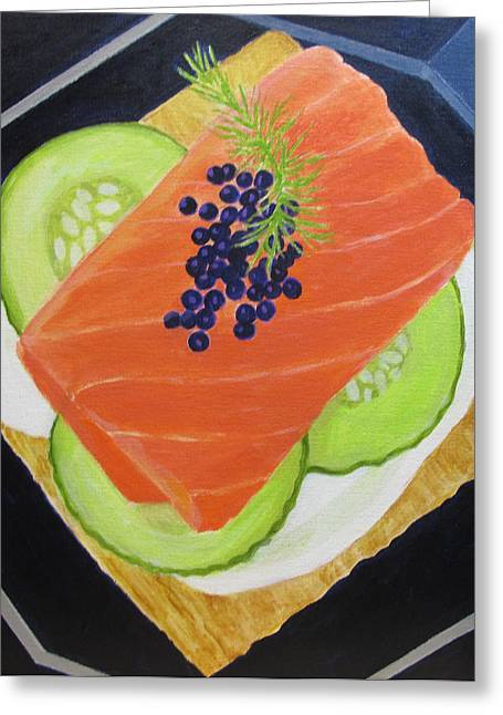 Salmon Paintings Greeting Cards -  Salmon and Caviar Canape Greeting Card by Toni Silber-Delerive
