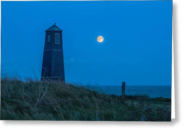 Super Moon Greeting Cards -  Samphire Hoe Lighthouse Greeting Card by Ian Hufton