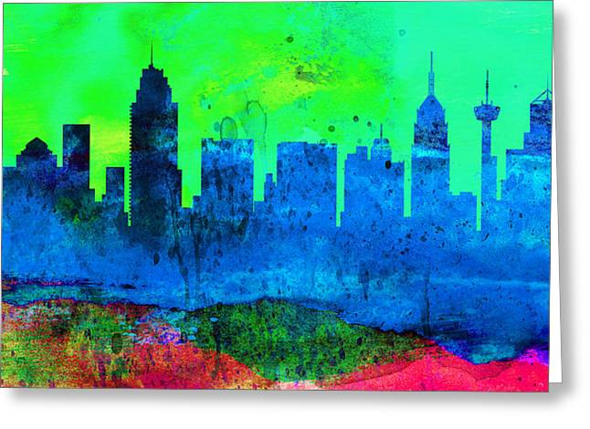 San Antonio Greeting Cards -  San Antonio City Skyline Greeting Card by Naxart Studio