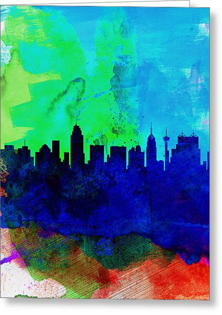 San Antonio Greeting Cards -  San Antonio Watercolor Skyline Greeting Card by Naxart Studio