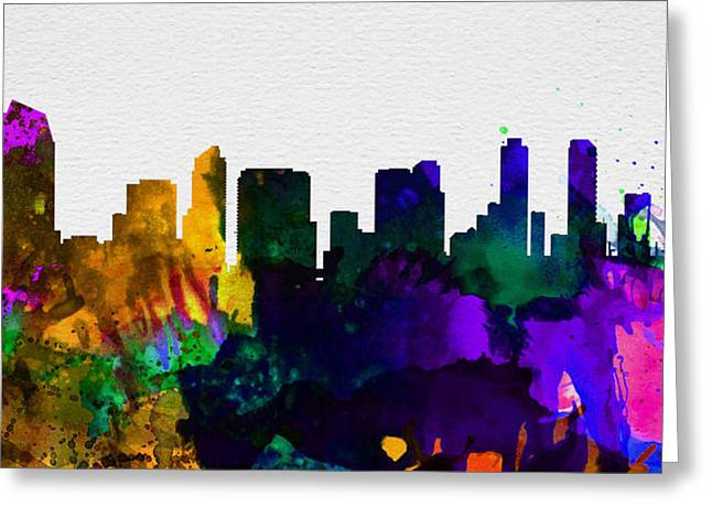 Architectural Paintings Greeting Cards -  San Diego City Skyline Greeting Card by Naxart Studio