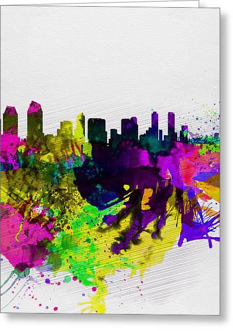San Diego Greeting Cards -  San Diego Watercolor Skyline Greeting Card by Naxart Studio