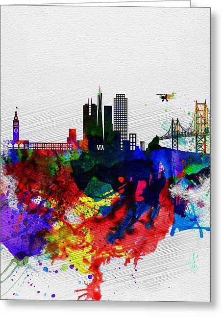 Architectural Landscape Greeting Cards -  San Francisco Watercolor Skyline 1 Greeting Card by Naxart Studio