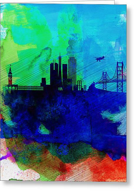 Architectural Landscape Greeting Cards -  San Francisco Watercolor Skyline 2 Greeting Card by Naxart Studio