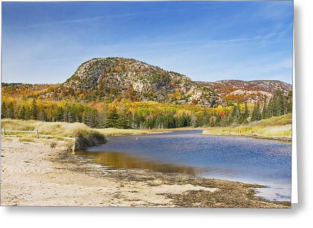 Maine Beach Greeting Cards -  Sand Beach - Beehive - Acadia National Park - Fall - Maine Greeting Card by Keith Webber Jr