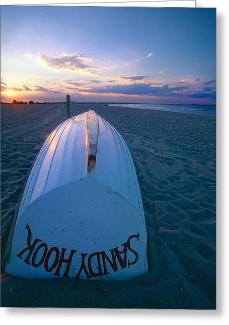 York Beach Greeting Cards -  Sandy Hook Beach Sunset Greeting Card by George Oze