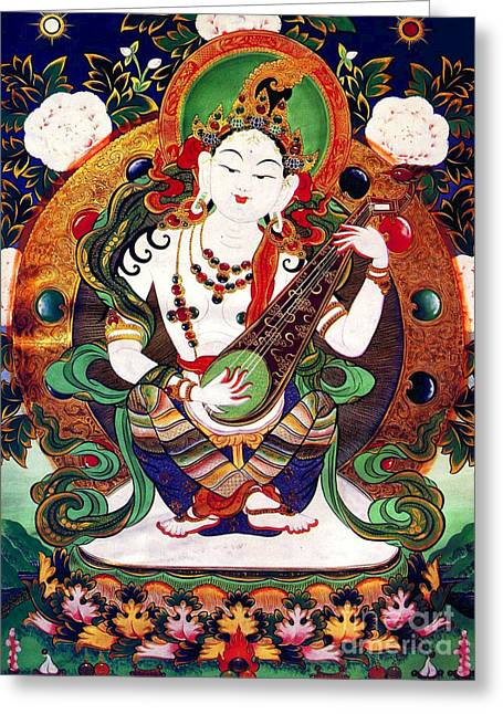 Full Of Wisdom Greeting Cards -  Saraswati 10 Greeting Card by Lanjee Chee