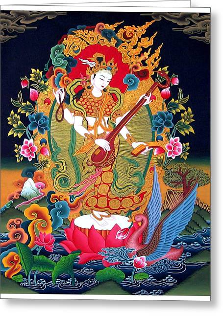 Tibetan Woman Greeting Cards -  Saraswati 3 Greeting Card by Lanjee Chee